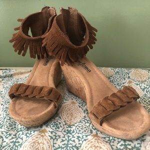 Brown wedges Indian style fringed wedge